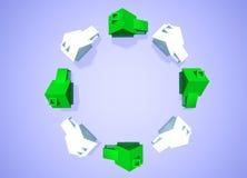 Grupo a favor do meio ambiente da vizinhança das casas Fotos de Stock