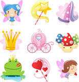 Grupo feericamente do ícone dos desenhos animados Foto de Stock Royalty Free