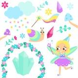 Grupo feericamente mágico Coleção de elementos do projeto do conto de fadas dos desenhos animados Etiquetas, clipart para meninas ilustração royalty free