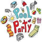 Grupo feito a mão do desenho da festa na piscina Fotos de Stock Royalty Free