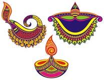 Grupo feliz colorido de Diwali de lâmpadas ilustração stock