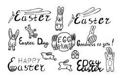 Grupo feliz da P?scoa com coelho e os ovos engra?ados lettering ilustração do vetor