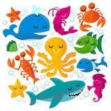Grupo feliz das criaturas do mar dos desenhos animados do divertimento ilustração royalty free