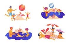 Grupo feliz das férias de verão da família isolado no branco ilustração royalty free