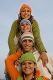 Grupo feliz de adolescencias Fotos de archivo libres de regalías