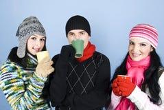Grupo feliz de amigos com as canecas de chá Fotografia de Stock Royalty Free