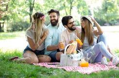 Grupo feliz de amigos que relaxam e que têm o divertimento no piquenique na natureza foto de stock royalty free