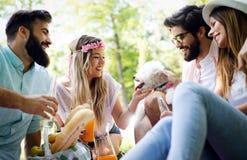 Grupo feliz de amigos que relaxam e que têm o divertimento no piquenique na natureza fotos de stock