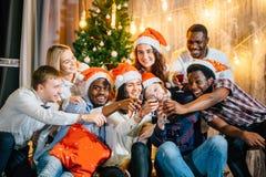 Grupo feliz de amigos que tocam nos glases um com o otro imagem de stock royalty free