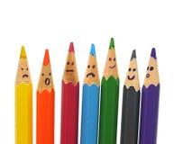 Grupo feliz de caras del lápiz como red social Foto de archivo libre de regalías