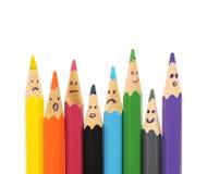 Grupo feliz de caras del lápiz como red social Fotografía de archivo libre de regalías
