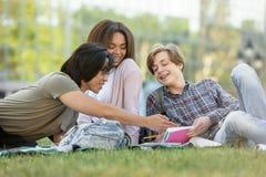 Grupo feliz de estudiantes multiétnicos que estudian al aire libre Imagen de archivo