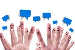 Grupo feliz de faces do dedo Fotografia de Stock Royalty Free
