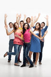 Grupo feliz de la diversión de amigos Fotos de archivo