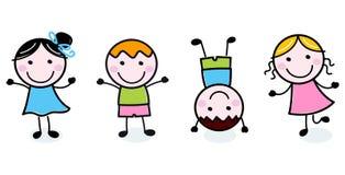 Grupo feliz de los cabritos del Doodle ilustración del vector