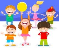 Grupo feliz de los caracteres de los ni?os de la historieta stock de ilustración