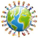 Grupo feliz de niños que se colocan en todo el mundo stock de ilustración