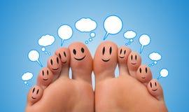 Grupo feliz de smiley del dedo con las burbujas Imagenes de archivo