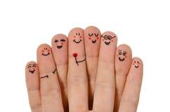 Grupo feliz de smiley do dedo Fotos de Stock Royalty Free