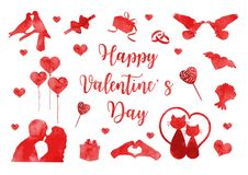 Grupo feliz do ícone do dia de Valentim de silhuetas da aquarela Coleção romance bonito do amor de elementos do projeto com coraç ilustração royalty free