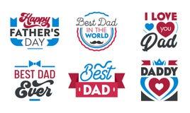 Grupo feliz do dia de pais de emblemas, de etiquetas, de ?cones e de sinais com tipografia para cart?es, bandeiras, t-shirt ou Lo ilustração do vetor