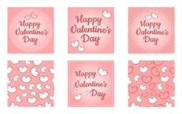 Grupo feliz do dia de Valentim de moldes Moldes coloridos dos desenhos animados retros bonitos com cora??es e pontos ilustração royalty free