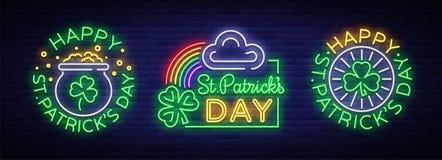 Grupo feliz do dia do ` s de St Patrick de ilustrações do vetor em um estilo de néon Coleção do sinal de néon, cartão, cartão, né ilustração do vetor