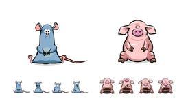 Grupo feliz do porco e do rato dos desenhos animados Imagens de Stock
