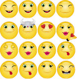 Grupo feliz do vetor dos Emoticons Fotos de Stock