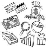 Grupo financeiro & do negócio do ícone Imagens de Stock