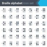 Grupo fino simples do ícone do alfabeto do braile isolado no fundo branco Fotografia de Stock