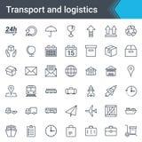 Grupo fino simples do ícone do transporte e da logística isolado no fundo branco Fotografia de Stock