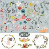 Grupo floral da garatuja do vintage ilustração royalty free
