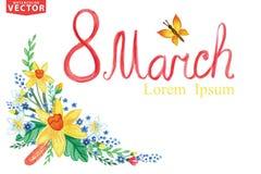 Grupo floral de la primavera de la acuarela Tarjeta de felicitación marzo Imagen de archivo libre de regalías