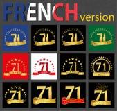 Grupo francês de moldes do número 71 ilustração stock