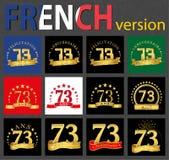 Grupo francês de moldes do número 73 ilustração stock