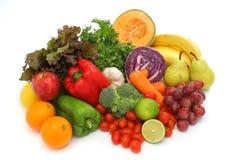 Grupo fresco colorido de vegetais e de frutas Fotografia de Stock