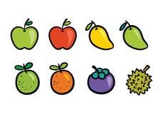 Grupo fresco da coleção do desenho do fruto do verão Imagens de Stock Royalty Free