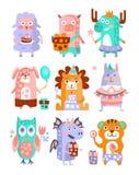 Grupo funky estilizado da etiqueta da festa de anos dos animais ilustração stock