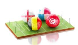 grupo G do competiam do mundo do futebol 3d Fotos de Stock Royalty Free