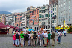 Grupo Genebra Genoa Guide Italy dos turistas do turista Foto de Stock Royalty Free