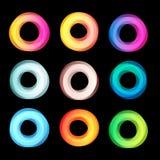 Grupo geométrico abstrato incomum do logotipo do vetor das formas Coleção colorida circular dos logotypes no fundo preto Imagens de Stock