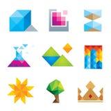 Grupo geométrico do ícone da arte dos polígono bonitos extremamente criativos do projeto Foto de Stock Royalty Free