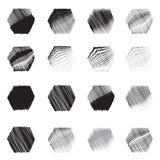 Grupo geométrico do esboço do ícone das formas do hexágono Imagens de Stock Royalty Free