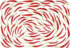 Grupo geométrico do teste padrão do tempero picante vegetal do teste padrão da pimenta de pimentão do fundo de vagens em um branc Fotografia de Stock Royalty Free