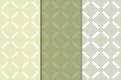 Grupo geométrico do verde azeitona e o branco de testes padrões sem emenda Foto de Stock Royalty Free