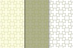 Grupo geométrico do verde azeitona e o branco de testes padrões sem emenda Fotos de Stock Royalty Free