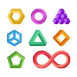 Grupo geométrico impossível do vetor das formas ilustração royalty free
