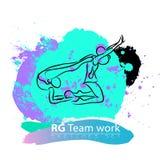Grupo ginástico rítmico artístico do esboço da equipe do vetor Fotografia de Stock