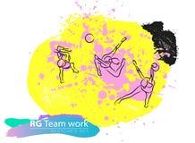 Grupo ginástico rítmico artístico do esboço da equipe do vetor Foto de Stock Royalty Free